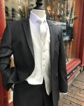 Charcoal cream waistcoat - Suit Hire - Con Murphys Menswear