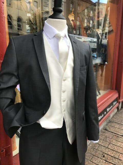 Charcoal cream waistcoat