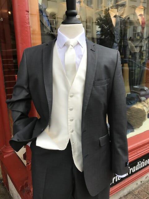 Charcoal with cream waistcoat - - Con Murphys Menswear