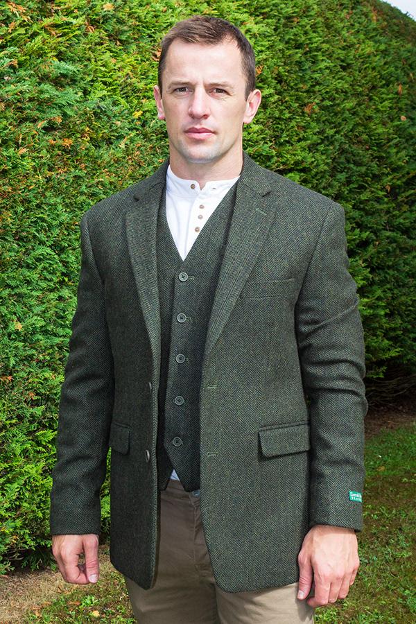 irish tweed jacket green - - Con Murphys Menswear