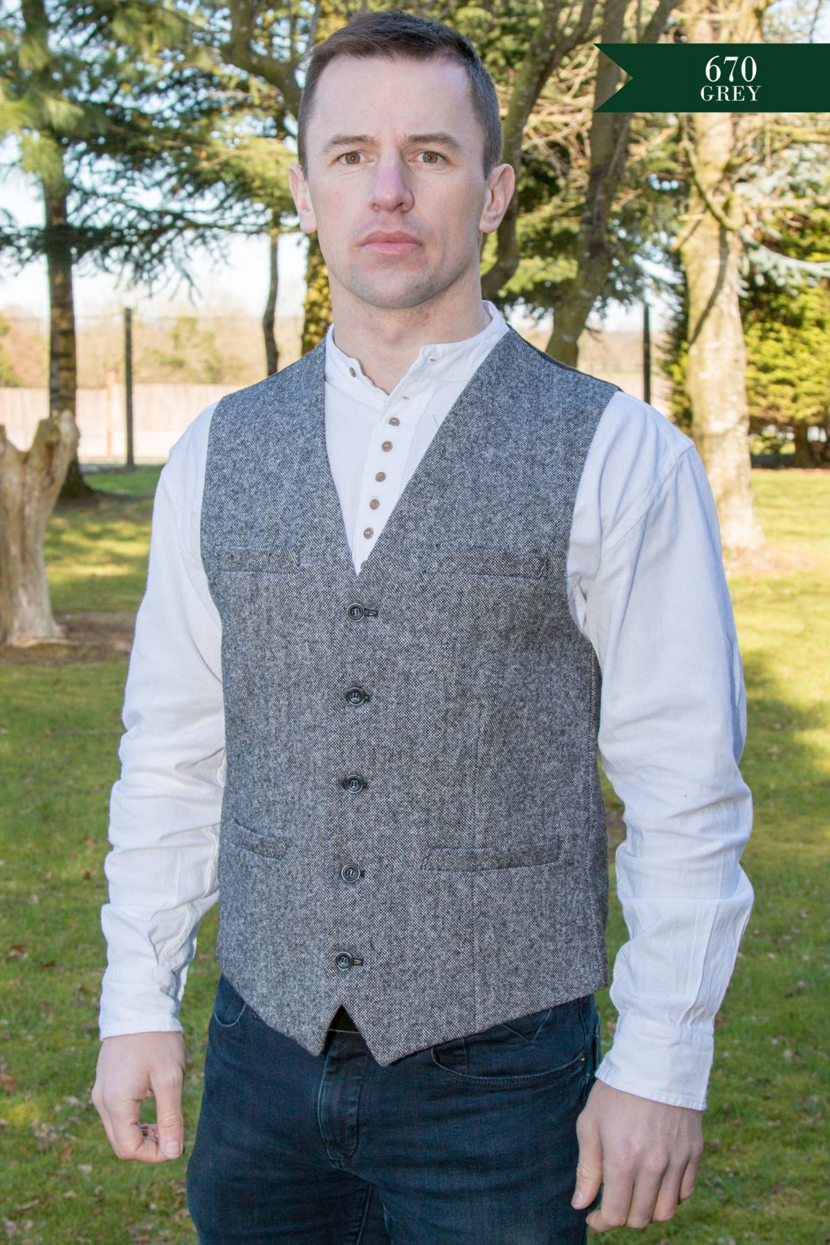 irish tweed waistcoat grey scaled - - Con Murphys Menswear
